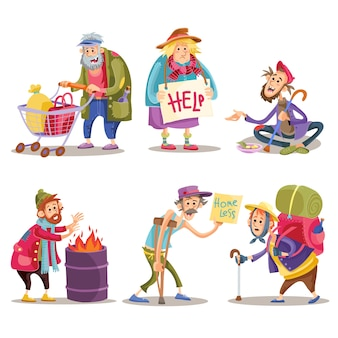 Beggars, homeless, tramps, hobo, funny cartoon set