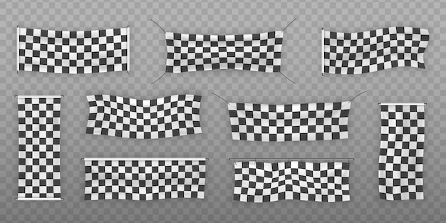 Beginners and checkered vinyl banners with folds