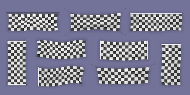 Начинающие, обрезные и клетчатые виниловые баннеры со складками. коллекция стартовых, финишных и клетчатых спортивных флагов. набор иллюстраций знака начала или конца.