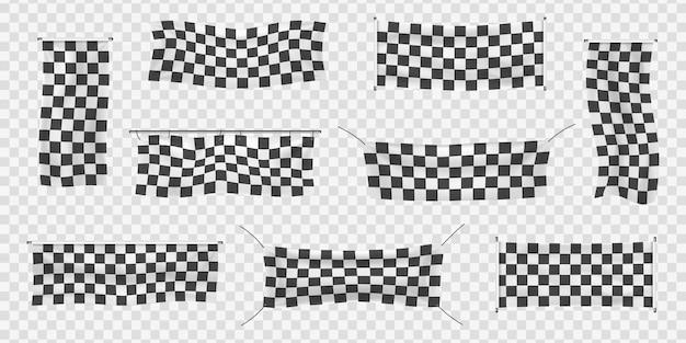 Начинающие, обрезные и клетчатые виниловые баннеры со складками. коллекция стартовых, финишных и клетчатых спортивных флагов. набор начального или конечного знака.