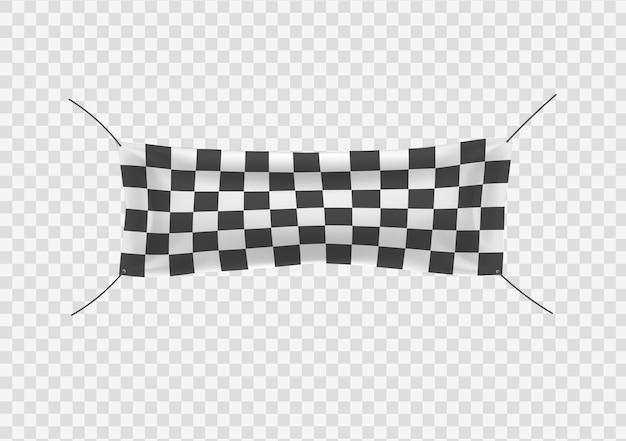 Новички отделывают и клетчатые виниловые баннеры со складками, начиная с конца, заканчивают клетчатым спортивным флагом.