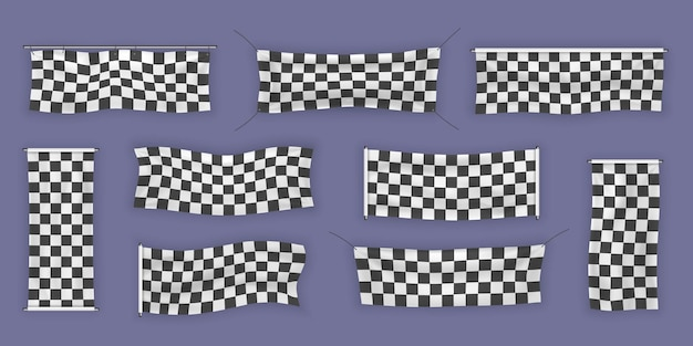 초보자, 주름이있는 트림 및 체크 무늬 비닐 배너.