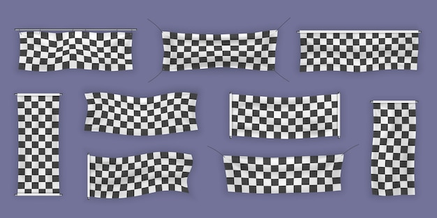 Beginners, trim and checkered vinyl banners with folds. collection of starting, finishing, and checkered sports flag. set of illustrations of start or end sign.