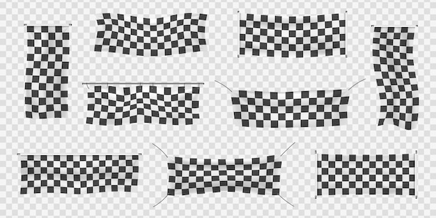 Beginners, trim and checkered vinyl banners with folds. collection of starting, finishing, and checkered sports flag. set of start or end sign.