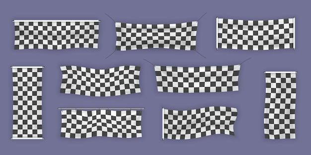 Beginners, trim and checkered vinyl banners with folds