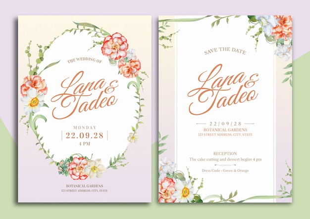 Begonia and daffodil floral watercolor illustration wedding invitation card with text layout