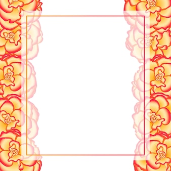 Begonia flower, picotee sunburst banner card border
