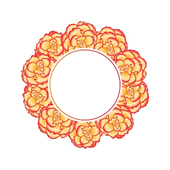 Begonia flower, picotee sunburst banner wreath