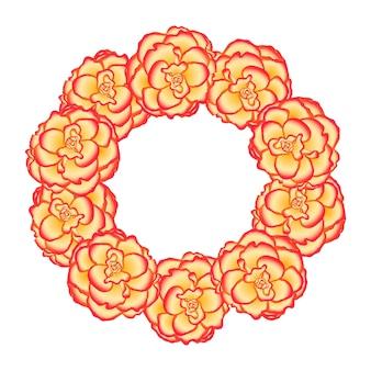 Begonia flower picotee sunburst wreath