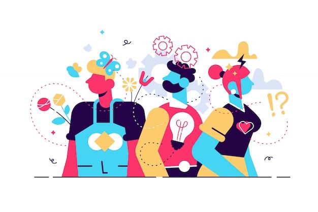 行動図。フラットな小さな感情表現人コンセプト。さまざまな顔の感情とジェスチャーのコミュニケーションスタイルコレクション。性格のタイプと心理的な考え方の違い。