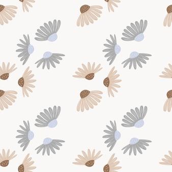 밝은 배경에 베이지 색과 파란색 꽃 빈티지 패턴