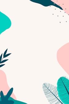 Бежевый и зеленый абстрактный ботанический фон