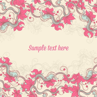 Beige background with pink flowers