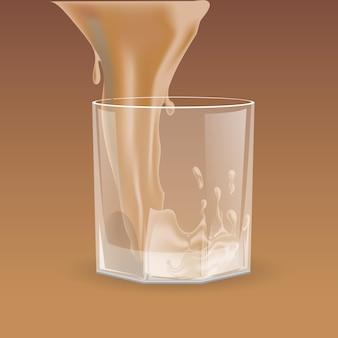 위스키 스카치 버번을 위해 투명한 유리에 쏟아지는 베이지 음료
