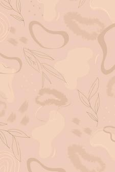 ベージュの植物模様の背景