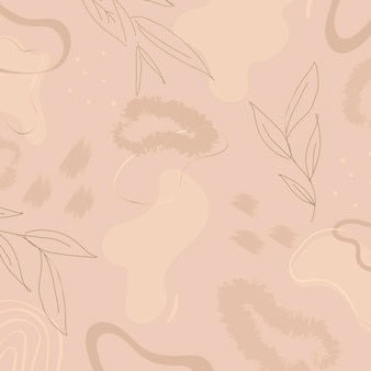 Beige botanical patterned background