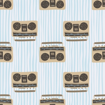 Beige and brown tape recorder seamless pattern. disco style artwork with blue stripped background.