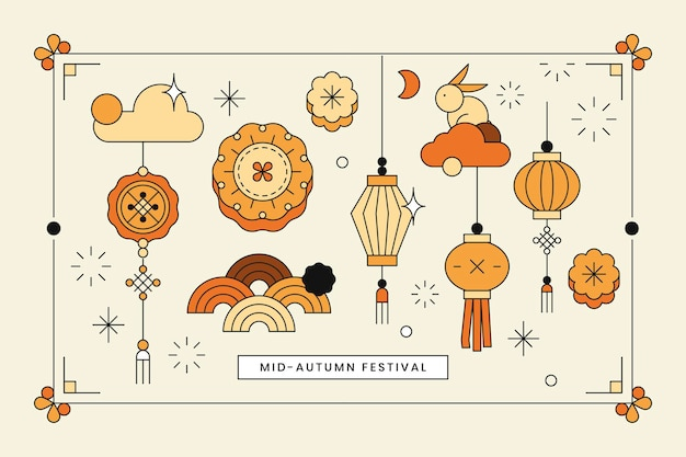 Beige chinese mid autumn festival background vector