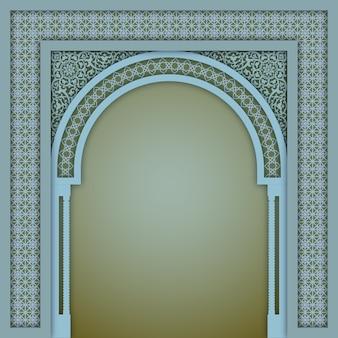 Beige color islamic arch design template