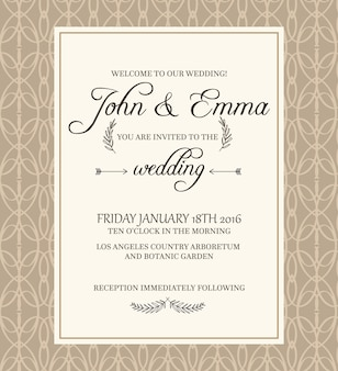 Beige colored decorative frame invitation postcard on filigree  with text about important information concerning celebration of wedding in botanic garden.