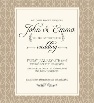 Cartolina di invito cornice decorativa di colore beige su filigrana con testo su informazioni importanti riguardanti la celebrazione del matrimonio nel giardino botanico.