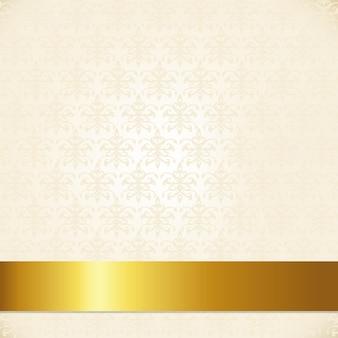 ゴールドリボンとベージュのダマスク織の背景