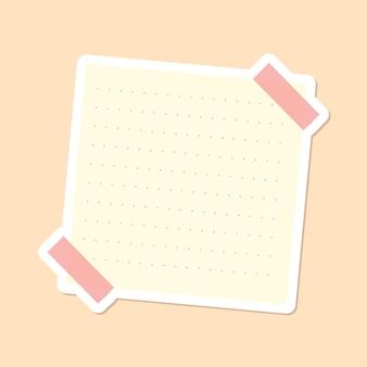 ベージュの点線の便箋ジャーナルステッカーベクトル