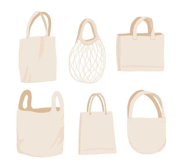 Beige fabric cloth or paper bag.