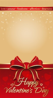 Beige festive background with red ribbon and bow for valentines day. background for romantic cards with empty space. happy valentines day.