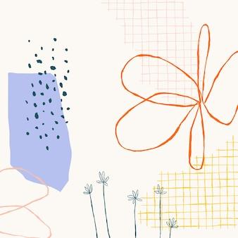 抽象的な落書きの形とベージュの花の背景ベクトル