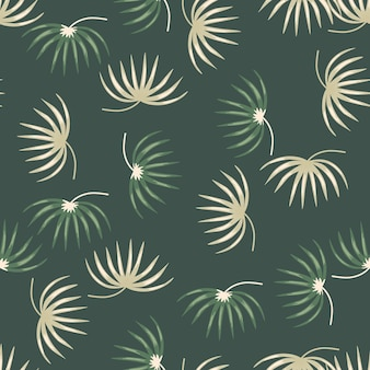 Beige and green random tropic leaves silhouettes seamless pattern.