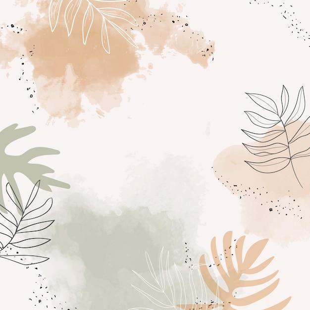 ベージュの緑豊かな水彩画の背景