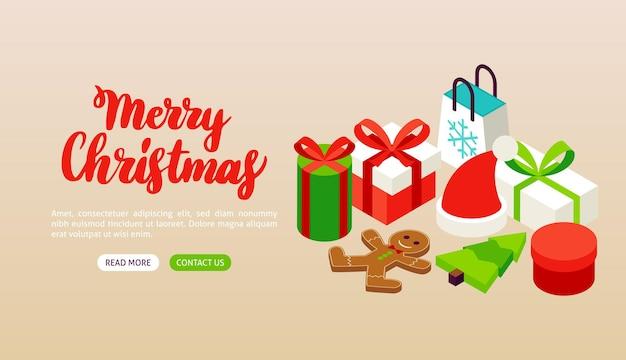 Бежевый баннер с рождеством христовым. векторная иллюстрация изометрии зимний праздник.