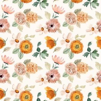 Бежевый оранжевый цветочный акварельный бесшовный фон