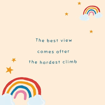 Beige rainbow template vector for social media post quote