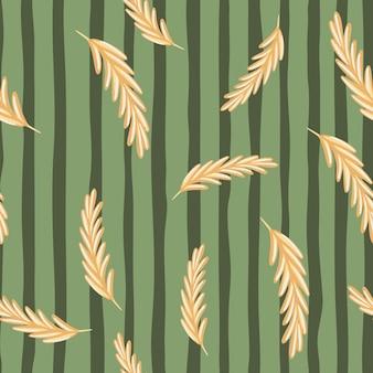 Beige random ear of wheat elements seamless pattern in doodle style. green striped background.