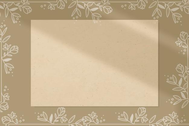 ベージュの長方形の花のフレームベクトル