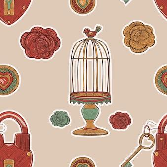 ベージュのレトロなシームレス パターン。ビンテージ スケッチのケージとロックとバラが大好き