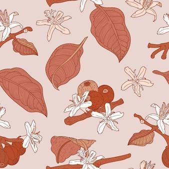 開花コーヒーブランチとベージュのシームレスパターン
