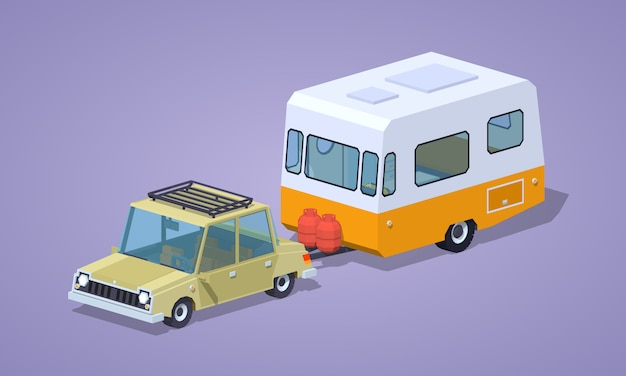 Beige sedan with orange-white camper