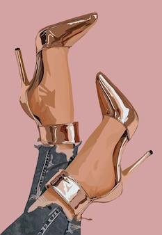 여성 다리에 베이지색 반짝이 신발. 벡터 패션 일러스트입니다.