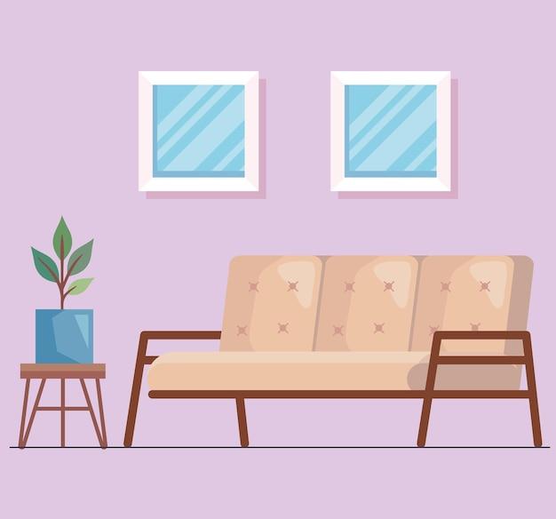 ベージュのソファと観葉植物