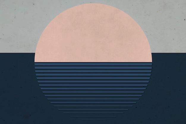 紺色の海の背景にベージュの太陽の要素
