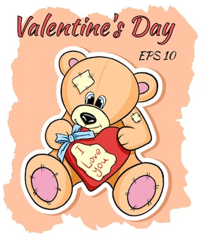 Beige teddy bear with a heart in his hands. valentine's day gift.