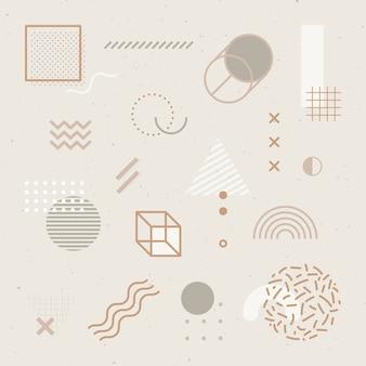Beige tone memphis patterned social template