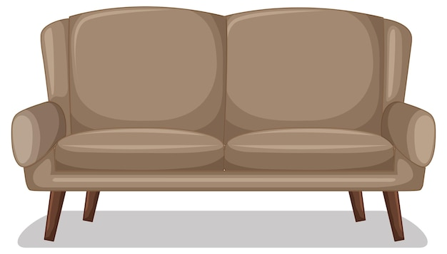 Beige two-seater sofa isolated on white background