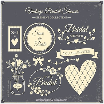 Beige vintage bridal shower element collection
