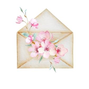 봄 꽃의 부케와 함께 베이지 색 빈티지 봉투. 종이 한 장, 사랑의 메시지. 발렌타인 데이, 어머니의 날, 인사말 카드 수채화 그림