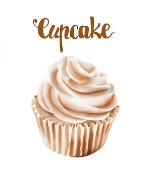 Beige walnut cupcakes with whipped cream