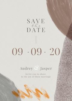 Modello di biglietto d'invito matrimonio beige beige